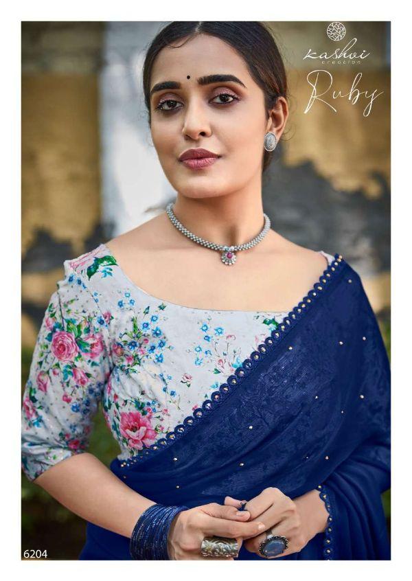 Ruby By Kashvi Moss Chiffon Casual Wear Fancy Saree