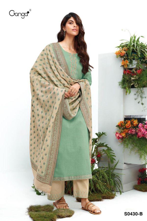 Ganga Nimma 430 Premium Cotton Linen With Handwork Suit
